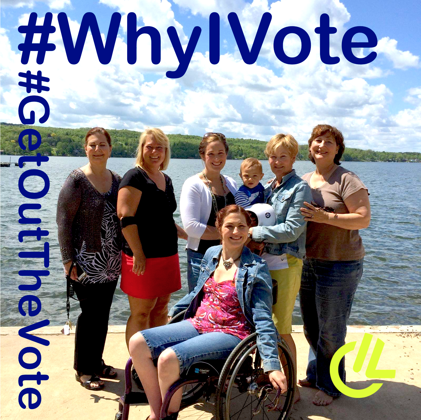 Robin Bennett #whyivote campaign photo of women in front of lake