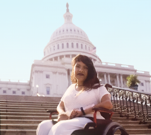 Maria Kirchhoff in front of the Capitol steps