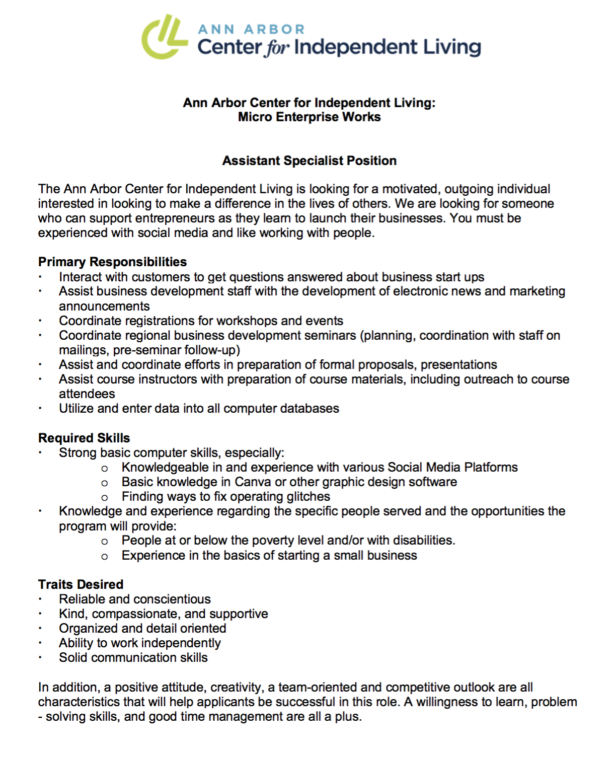 Job Opening: Small Business Program Assistant