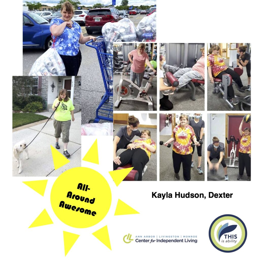 Kayla Hudson, dexter, carrying bags of cans in a parking lot, doing exercises at physical therapy, and walking her dog in front of her house