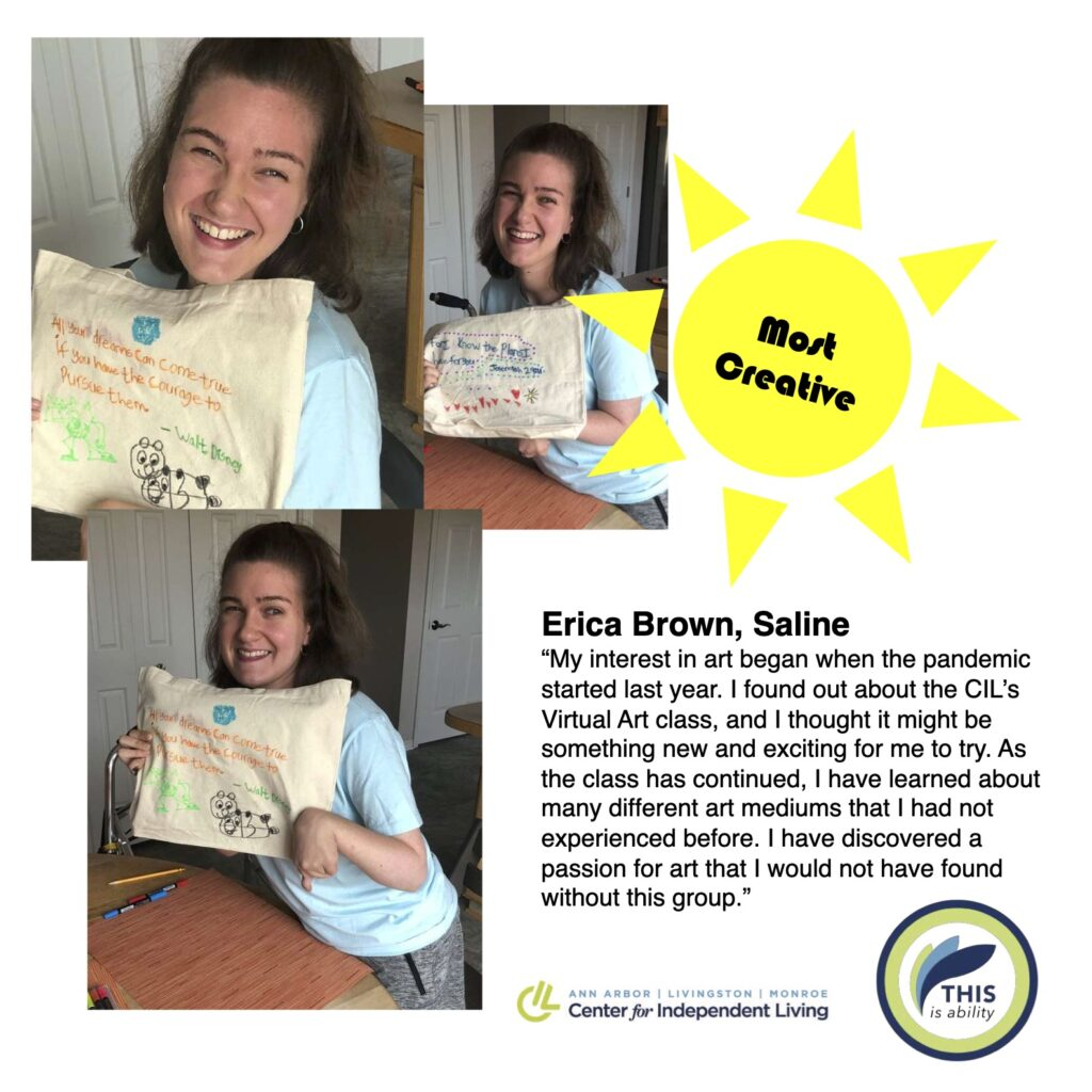 Erica brown, saline, holding up fabric painting art and describing how she enjoys art and participating in the online art program since the start of the pandemic