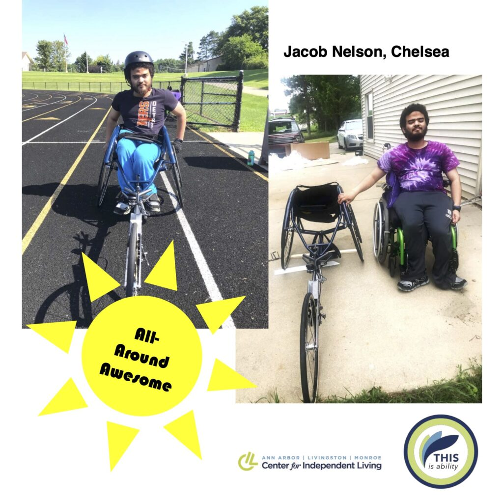 Jacob Nelson, Chelsea, riding an adaptive bicycle for people with disabilities